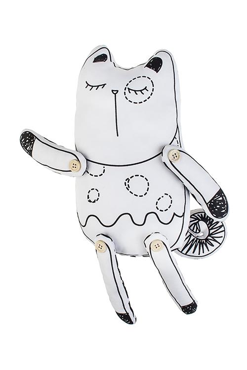 Игрушка мягконабивная КотикПодарки ко дню рождения<br>15*38см, текстиль, бело-черная<br>