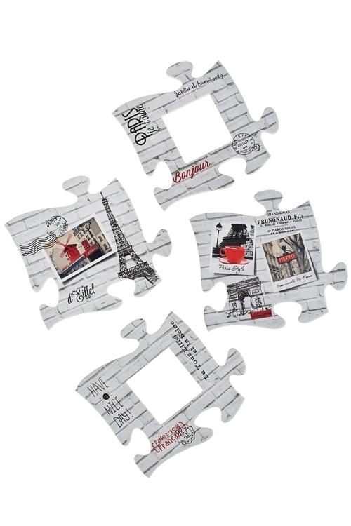 Набор держ.-магнитов с фоторамкой Пазлы-ПарижИнтерьер<br>21*22, 12*11см, фото 5*5см, резина, бум.<br>