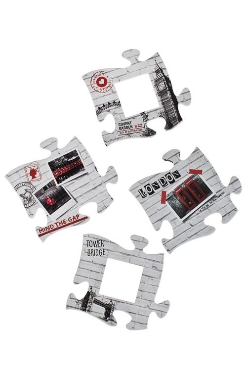 Набор держ.-магнитов с фоторамкой Пазлы-ЛондонДержатели-зажимы для фото<br>21*22, 12*11см, фото 5*5см, резина, бум.<br>
