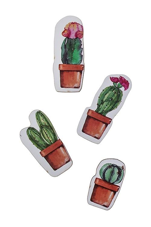 Набор держателей-магнитов Милые кактусыСувениры и упаковка<br>4-предм., 15*21см, МДФ<br>