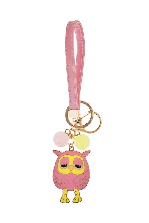 Брелок СовушкаСувениры и упаковка<br>Металл, розово-лимонный<br>
