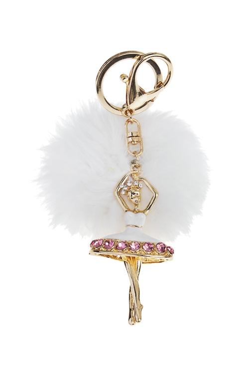 Брелок Изящная балеринаСувениры для женщин<br>Металл, полиэстер, бело-розовый<br>
