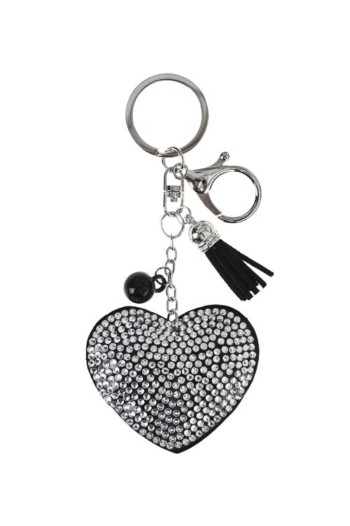 Брелок СердцеСувениры для женщин<br>Стекло, полиэстер, акрил, черно-серебр.<br>