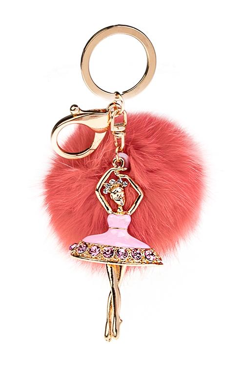 Брелок Изящная балеринаСувениры для женщин<br>Металл, полиэстер, коралл.-розовый<br>