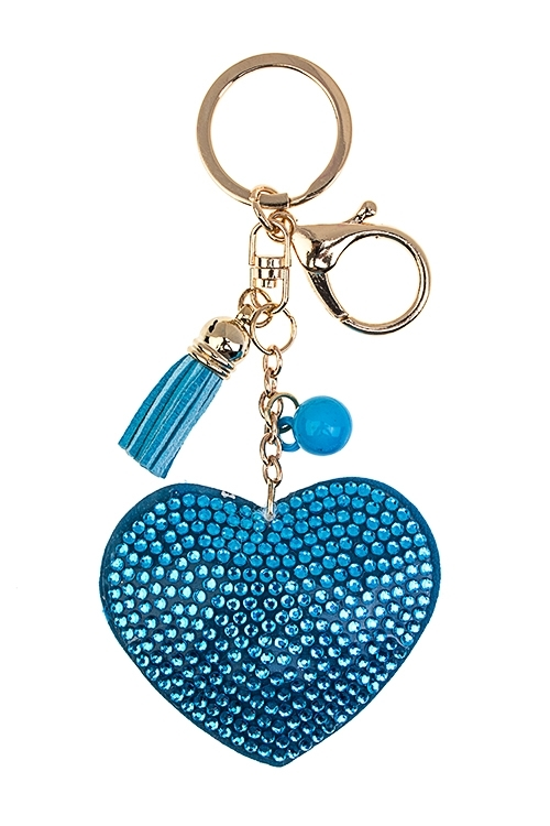 Брелок СердцеСувениры для женщин<br>Стекло, полиэстер, акрил, голубой<br>