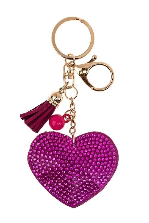 Брелок СердцеСувениры для женщин<br>Стекло, полиэстер, акрил, ярко-розовый<br>