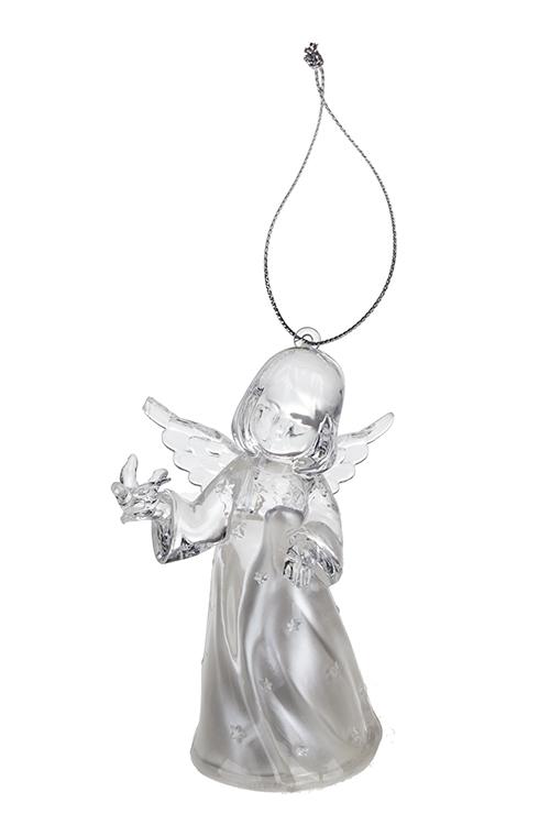 Украшение декоративное светящееся Ангелочек с птичкойПодарки<br>Выс=10см, акрил, подвесное, на батар.<br>