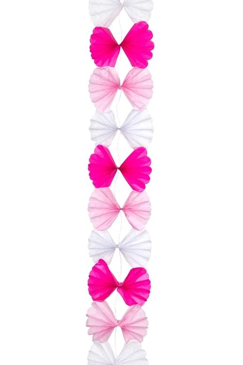 Украшение декоративное ГирляндаРазвлечения и вечеринки<br>Дл=2.1м, бумага, розово-белое<br>