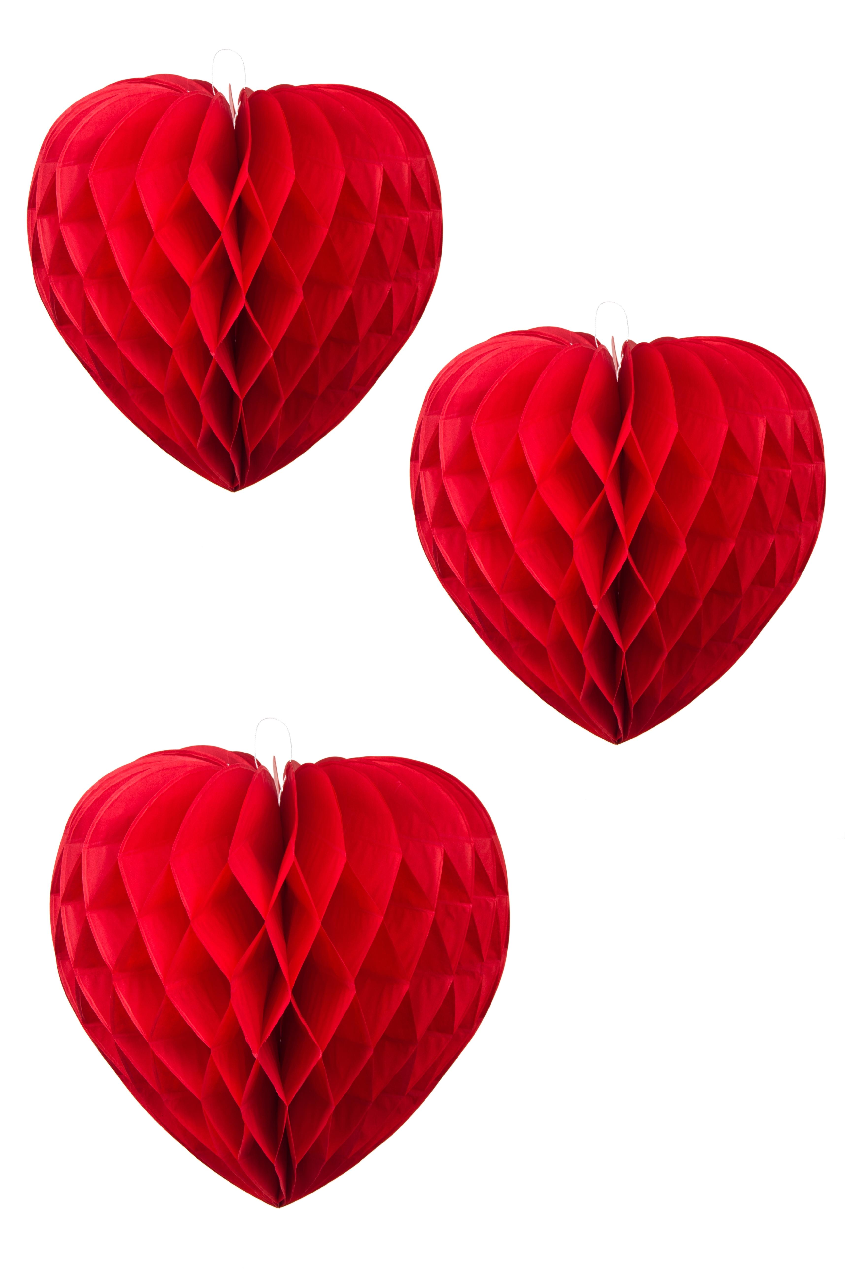 Набор украшений декоративных Три сердцаУкрашения на стену<br>3-предм., бумага, красный<br>