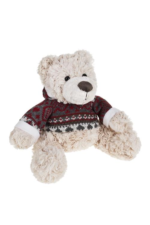 Игрушка мягкая Мишка в курточкеИгрушки и куклы<br>Выс=20см, текстиль, крем.-серо-красная<br>
