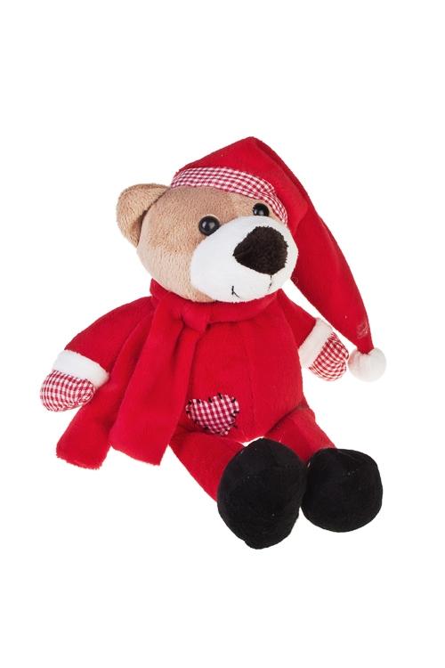 Игрушка мягкая Мишутка в колпачкеИгрушки и куклы<br>Выс=15см, текстиль, крем.-красная<br>