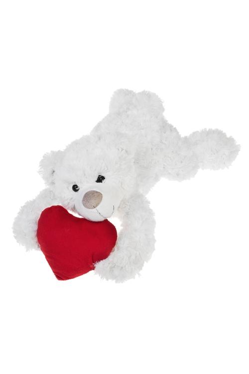 Игрушка мягкая Влюбленный мишкаПодарки ко дню рождения<br>Дл=40см, текстиль, бело-красная<br>