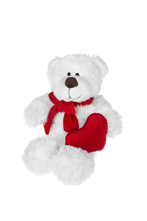 Игрушка мягкая Мишка с сердечкомПодарки ко дню рождения<br>Выс=18см, текстиль, бело-красная<br>