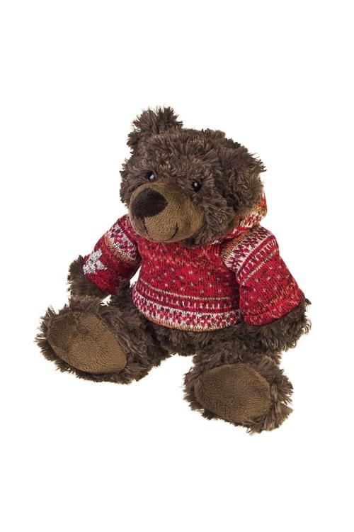 Игрушка мягкая Мишка в курточкеИгрушки и куклы<br>Выс=20см, текстиль, коричн.-красная<br>