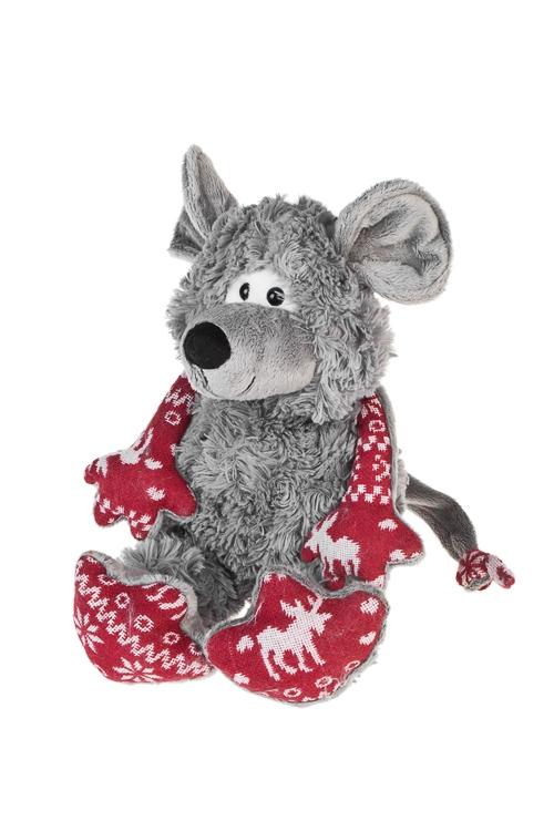 Игрушка мягкая Счастливый мышонокПлюшевые игрушки<br>Выс=20см, текстиль, серо-красная<br>