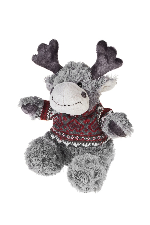 Игрушка мягкая Лосик в свитерочкеПлюшевые игрушки<br>Выс=25см, текстиль, серо-красная<br>