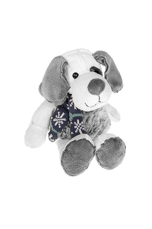 Игрушка мягкая Пес - счастливый носПлюшевые игрушки<br>Дл=23см, текстиль, бело-серая<br>