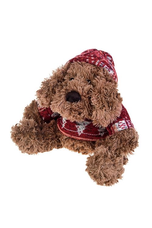 Игрушка мягкая Собачка в свитеркеИгрушки и куклы<br>Выс=18см, текстиль, коричн.-красн.<br>