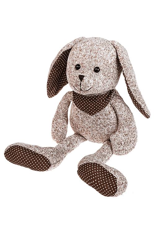 Игрушка мягкая Ушастый зайкаПлюшевые игрушки<br>Дл=40см, текстиль, бело-коричн.<br>