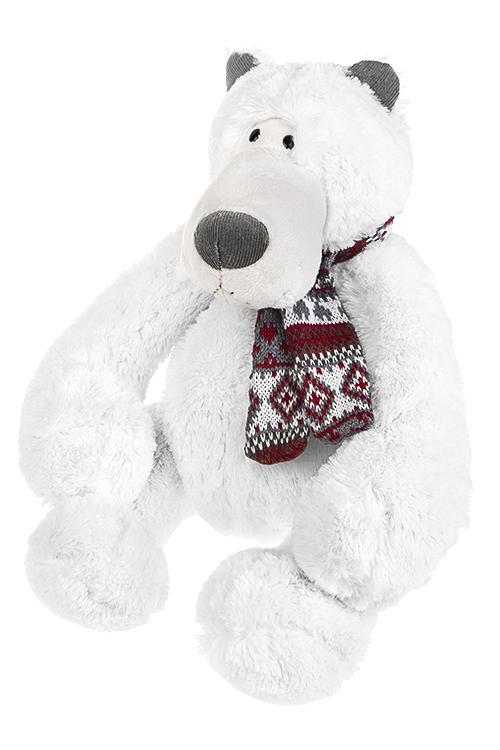 Игрушка мягкая Миша с шарфикомИгрушки и куклы<br>Дл=47см, текстиль, бело-серо-красн.<br>