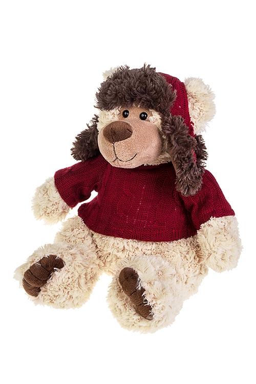 Игрушка мягкая Мишка в свитере и ушанкеИгрушки и куклы<br>Выс=31см, текстиль, крем.-коричн-борд.<br>