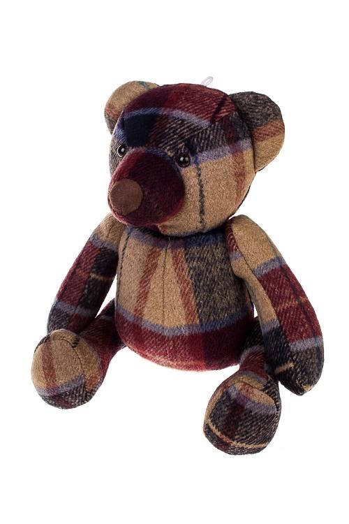 Игрушка мягконабивная МишуткаПодарки на день рождения<br>22*21*30см, текстиль, крем.-зелено-красная<br>