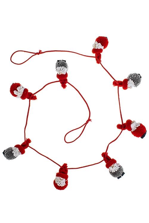 Гирлянда декоративная Дедушки МорозыДекоративные гирлянды и подвески<br>Дл=144см, текстиль, дерево, подвесная<br>