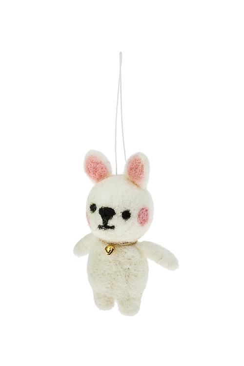 Игрушка мягкая КотенокТекстильные игрушки<br>Выс=10см, текстиль, бело-розовая, подвесная, ручн. раб.<br>