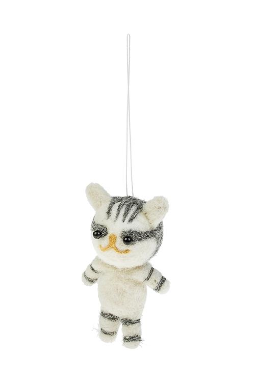 Игрушка мягкая Полосатый котенокИгрушки и куклы<br>Выс=11см, текстиль, бело-серая, подвесная, ручн. раб.<br>