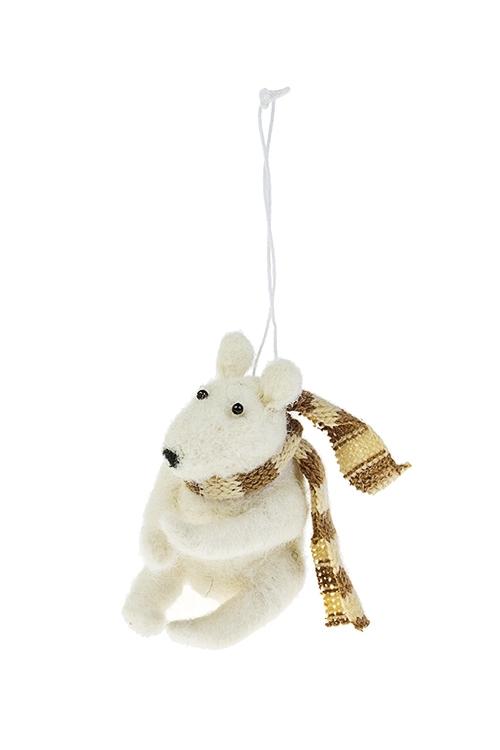 Игрушка мягкая Белый мишка в шарфикеИгрушки и куклы<br>Выс=9см, текстиль, белая, подвесная, ручн. раб.<br>