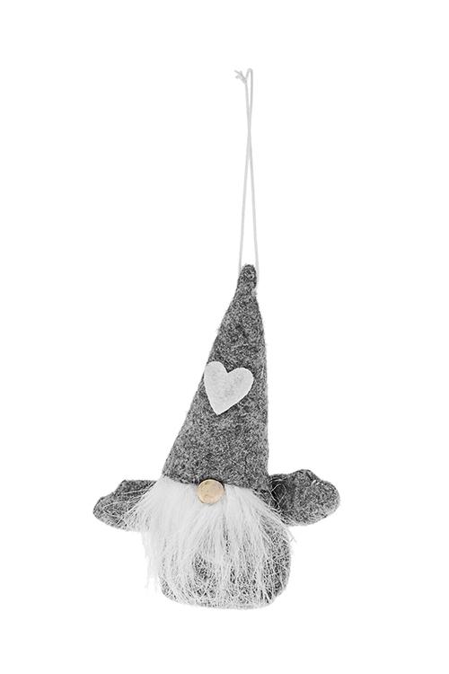 Кукла мягконабивная Гномик в колпакеИгрушки-куклы<br>Выс=13см, текстиль, дерево, серо-белая, подвесная<br>