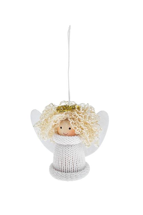 Кукла декоративная Белокурый ангелокИгрушки-куклы<br>Выс=8см, текстиль, дерево, белая, подвесная<br>