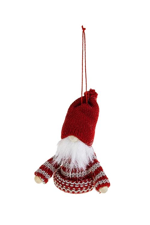 Кукла декоративная Гномик в свитеркеИгрушки-куклы<br>Выс=11см, текстиль, дерево, серо-красная, подвесная<br>