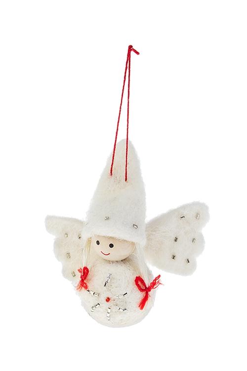 Кукла декоративная Снежный ангелИгрушки и куклы<br>Выс=10см, текстиль, дерево, белая, подвесная, ручн. раб.<br>