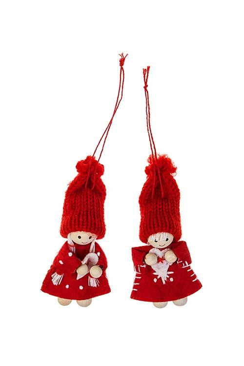 Набор кукол декоративных Малышка с сердцемИгрушки-куклы<br>2-предм., Выс=10см, текстиль, дерево, красный, подвесной<br>