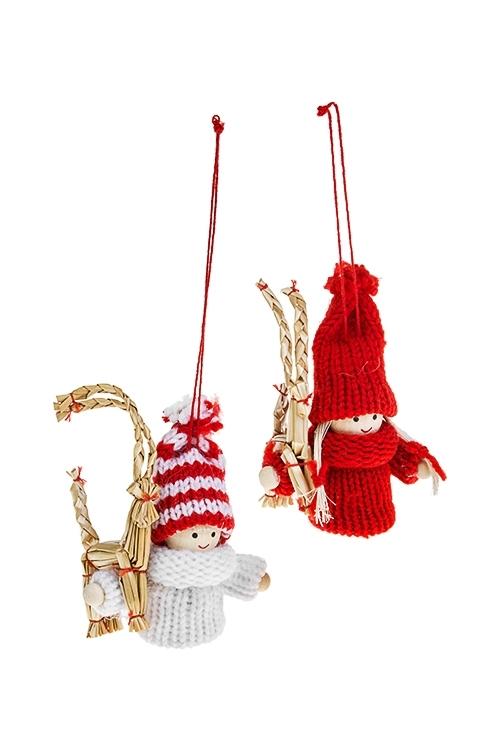 Набор кукол декоративных МалышкаИгрушки и куклы<br>2-предм., Выс=9см, текстиль, дерево, бело-красный, подвесной<br>