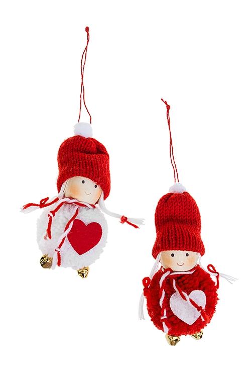 Набор кукол декоративных Влюбленная малышкаИгрушки и куклы<br>2-предм., Выс=12см, текстиль, дерево, бело-красный, подвес.<br>