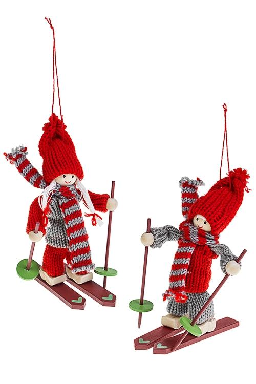 Набор кукол декоративных Малышка на лыжахИгрушки и куклы<br>2-предм., Выс=14см, текстиль, дерево, серо-красный, подвесной<br>