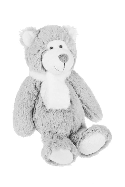 Игрушка мягкая ароматизированная Миша в шарфикеИгрушки и куклы<br>Выс=25см, текстиль, серо-белая, с ароматом лаванды<br>