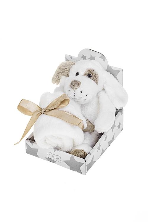 Игрушка мягкая ароматизированная Флаффи с одеяльцемМягкие игрушки на Новый Год<br>Выс=20см, текстиль, серо-белая с аром. сладкой ваты<br>