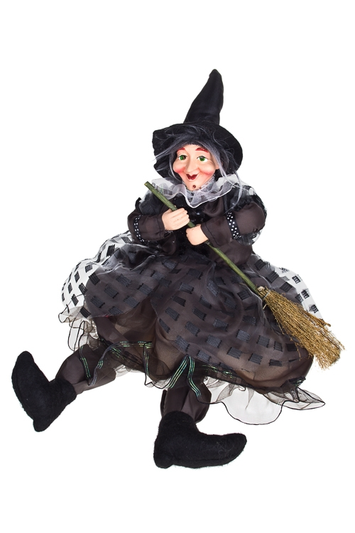 Кукла декоративная музык. Обаятельная ведьмочкаКуклы<br>Выс=22см, полирезин, пластм., текстиль, с подсветкой<br>