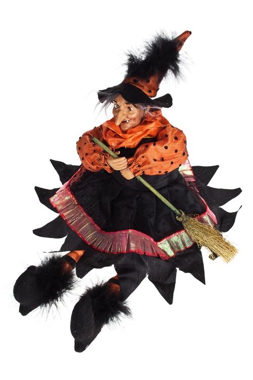 Кукла декоративная музык. Ведьма с метлойКуклы<br>Выс=22см, полирезин, пластм., текстиль, с подсветкой<br>