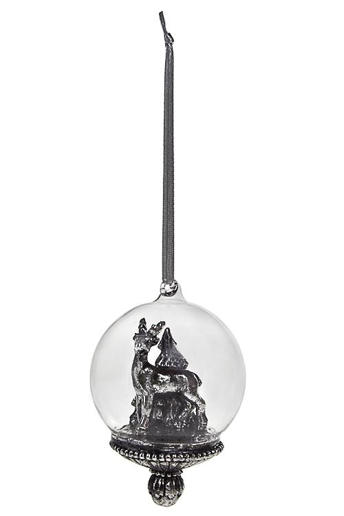 Украшение для интерьера Волшебный оленьПодарки<br>6*8см, полирезин, серебр., подвесное<br>