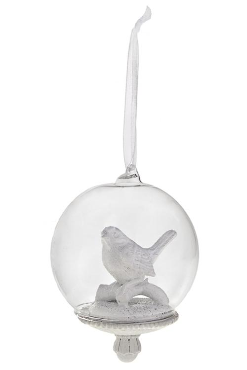 Украшение для интерьера Прекрасная птичкаЕлочные шары<br>8*10см, полирезин, белое, подвесное<br>