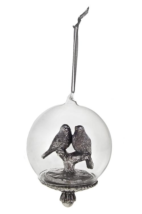 Украшение для интерьера Птички на веточкеПодарки<br>8*10см, полирезин, серебр., подвесное<br>