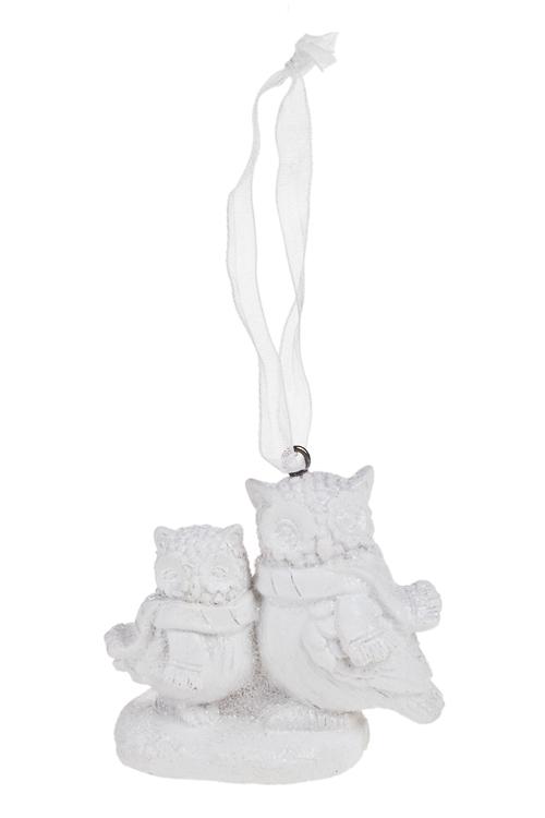 Украшение декоративное Совушки с шарфикамиПодарки<br>7*5см, полирезин, белое, подвесное<br>