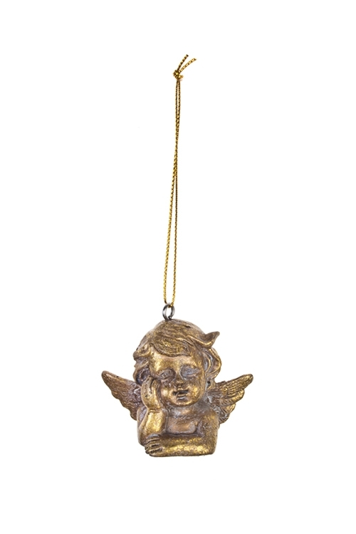 Украшение декоративное Мечтающий ангелокСувениры и упаковка<br>Выс=5см, полирезин, золот., подвесное<br>