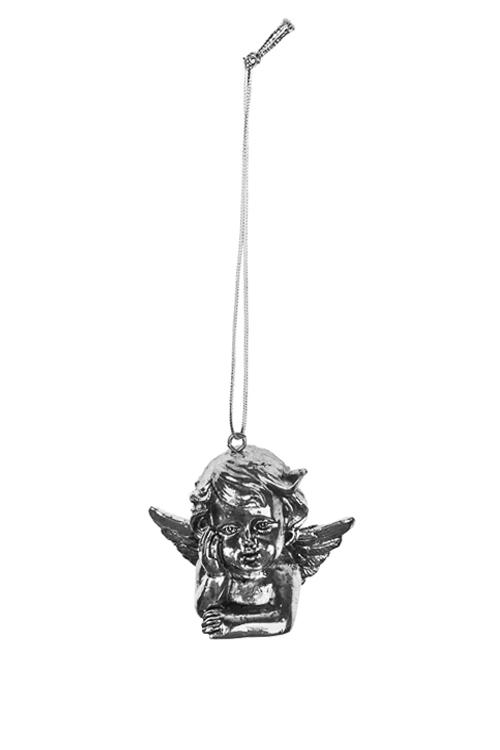 Украшение декоративное Мечтающий ангелокСувениры и упаковка<br>Выс=5см, полирезин, серебр., подвесное<br>