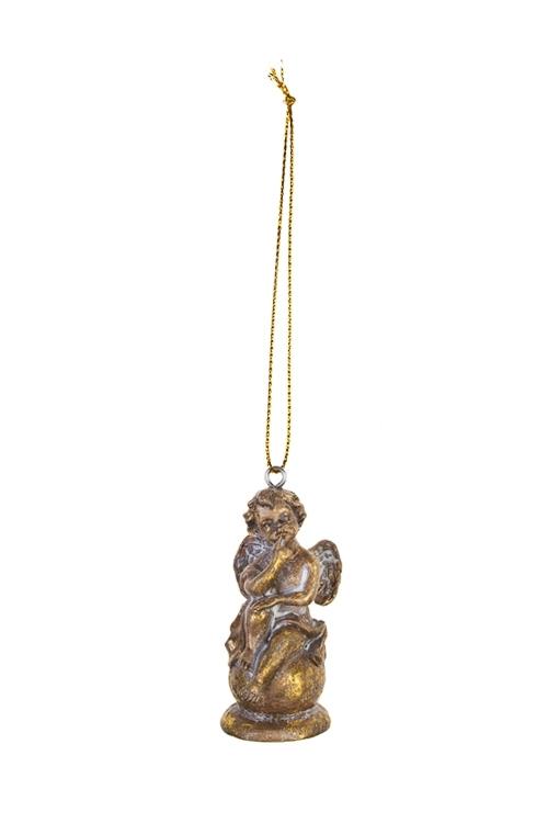 Украшение декоративное Задумчивый ангелСувениры и упаковка<br>Выс=7см, полирезин, золот., подвесное (2 вида)<br>