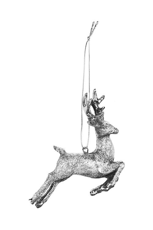 Украшение декоративное Парящий оленьПодарки<br>9*10см, полирезин, серебр., подвесное<br>